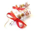 Christmas Candy Cane Earrings- miniature bottles with polymer clay candy canes inside