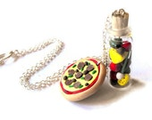 Pizza Party necklace- miniature bottle filled with polymer clay pizza ingredients