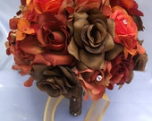 "17 Piece Package Wedding Bridal Bride Maid Of Honor Bridesmaid Bouquet Boutonniere Corsage Silk Flower FALL Brown Orange ""Lily Of Angeles"""