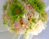 "17 Piece Package Wedding Bridal Bride Maid Of Honor Bridesmaid Bouquet Boutonniere Corsage Silk Flower IVORY PEACH GREEN ""Lily Of Angeles"""