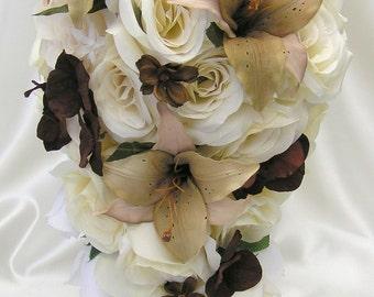 "17 Pieces Package Silk Flower Wedding Decoration Bridal Cascade Bouquet BROWN CREAM Ivory ""Lily Of Angeles"" IVBR01"