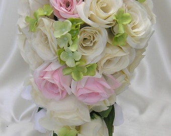 """17 Pieces Package Silk Flower Wedding Decoration Bridal Cascade Bouquet PINK GREEN Ivory """"Lily Of Angeles"""" PIGR01"""
