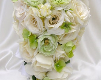 """17 Pieces Package Silk Flower Wedding Decoration Bridal Cascade Bouquet IVORY LIGHT GREEN """"Lily Of Angeles"""" IVGR01"""
