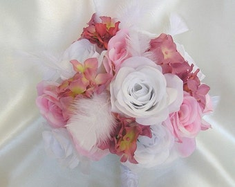 """17 Pieces Package Silk Flower Wedding Decoration Bridal Bouquet PINK MAUVE Feathers """"Lily Of Angeles"""" MVWT02"""