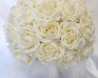 "Round Bridal Bouquet Groom Boutonniere IVORY ""Lily Of Angeles"" IVIV02"