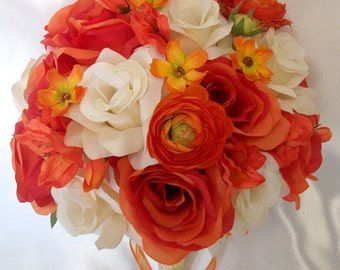"""17 Piece Package Wedding Bridal Bride Maid Of Honor Bridesmaid Bouquet Boutonniere Corsage Silk Flower ORANGE IVORY """"Lily Of Angeles"""" IVOR02"""