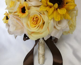 "17 Pieces Package Silk Flower Wedding Bouquets Centerpieces Flowers Bridal Bouquet Sunflower BROWN YELLOW IVORY ""Lily Of Angeles"" YEWT01"