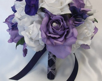 "17 Pieces Package Silk Flower Wedding Decoration Bridal Bouquet PURPLE LAVENDER ""Lily Of Angeles"""