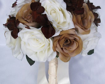 """17 Pieces Package Silk Flower Wedding Decoration Bridal Bouquet BROWN CREAM Ivory Daisy """"Lily Of Angeles"""" IVBR02"""