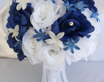 """17 Pieces Package Silk Flower Wedding Bouquets Decoration Bridal Bouquet DARK BLUE White NAVY Bridesmaid Maid Groom """"Lily Of Angeles"""" WTBL04"""