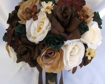 """17 Piece Package Wedding Bridal Bride Maid Of Honor Bridesmaid Bouquet Boutonniere Silk Flower IVORY BROWN CREAM """"Lily Of Angeles"""" BRCR03"""
