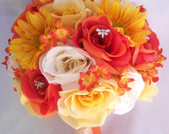 """17 Piece Package Wedding Bridal Bouquet Set Decoration Bouquets Silk Flowers ORANGE YELLOW """"Lily Of Angeles"""" ORYE02"""