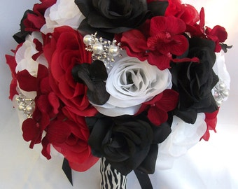 "17 Piece Package Wedding Bridal Bride Maid Honor Bridesmaid Bouquet Boutonniere Corsage Silk Flower RED BLACK Zebra ""Lily Of Angeles"" REBK08"