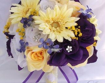 """17 Piece Package Wedding Bridal Bride Maid Of Honor Bridesmaid Bouquet Boutonniere Corsage Silk Flower WHITE PURPLE YELLOW """"Lily Of Angeles"""""""