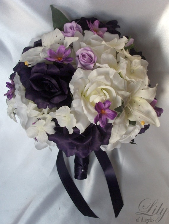 """17 Piece Package Wedding Bridal Bride Maid Bridesmaid Bouquet Boutonniere Corsage Silk Flower PURPLE LAVENDER IVORY """"Lily Of Angeles"""" WTPU02"""