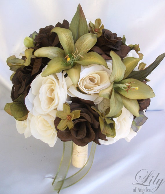 """17 Piece Package Wedding Bridal Bride Maid Of Honor Bridesmaid Bouquet Boutonniere Corsage Silk Flower SAGE GREEN OLIVE """"Lily Of Angeles"""""""