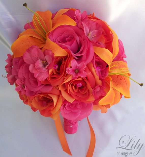 17 Piece Package Wedding Bridal Bride Maid Of Honor Bridesmaid Bouquet Boutonniere Corsage Silk Flower FUCHSIA ORANGE Lily of Angeles FUOR01