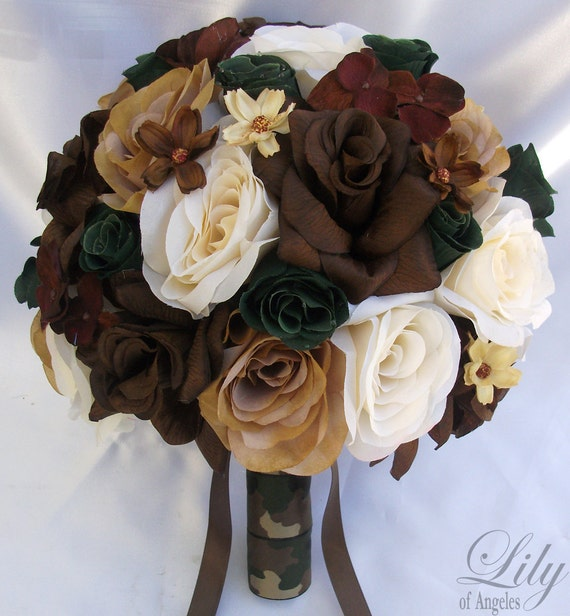 Brown Wedding Flowers: 17 Piece Package Wedding Bridal Bride Maid Of Honor Bridesmaid