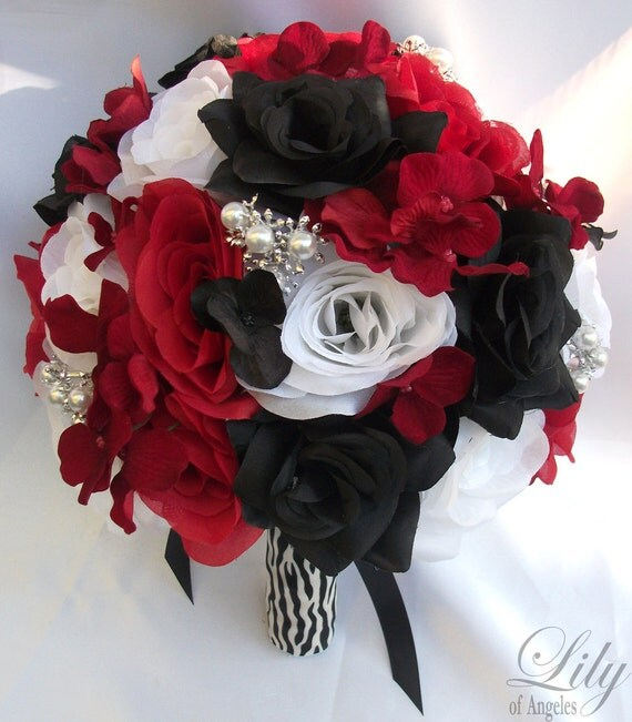 "17 Piece Package Wedding Bridal Bride Maid Of Honor Bridesmaid Bouquet Boutonniere Corsage Silk Flower RED BLACK Zebra ""Lily Of Angeles"""