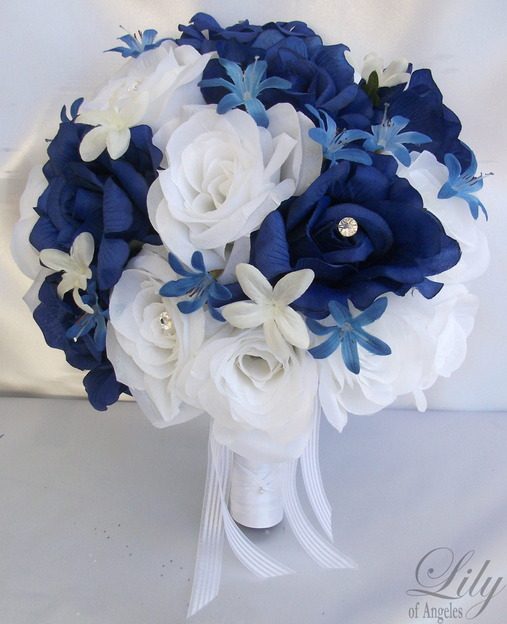 Fake Wedding Bouquets: 17 Pieces Package Silk Flower Wedding Bouquets Decoration