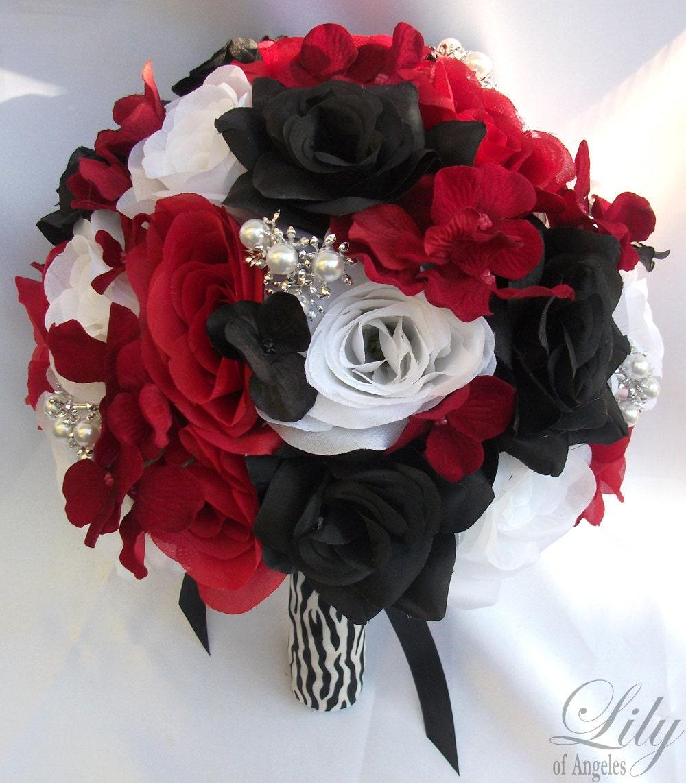 Black Wedding Flowers: 17 Piece Package Wedding Bridal Bride Maid Honor Bridesmaid