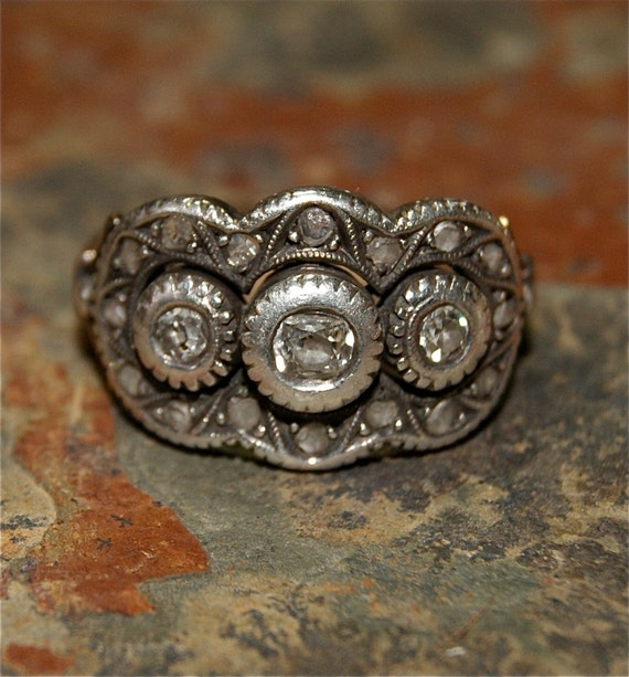 On hold for Jennifer GEORGIAN DIAMOND 15k GOLD and Silver Ring