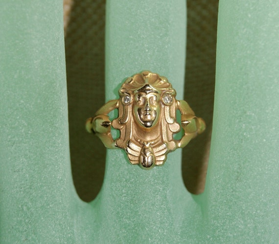 FOR STEPHANIE Exceptional Authentic  Egyptian Revival 18K Ring