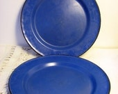 Vintage Blue Enamelware Plates/2