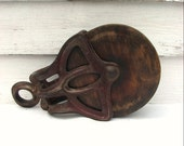 Wooden Pulley, Wheel, Louden Antique, Cast Iron, Industrial, Barn Antique1920s