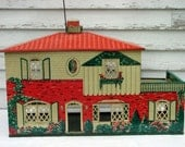 Vintage Metal Dollhouse T. Cohn Lithograph Spanish Style 1940's Plus Furniture