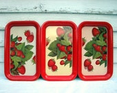 Vintage Strawberry Serving Tray Set of 3 Metalware