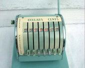 Vintage Teal Paymaster S-550 7 Column Heavy Duty Check Writer Front Page