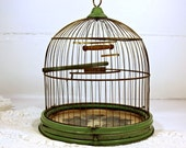Vintage, Antique, Birdcage Hendryx, Green, Stand