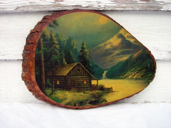 Vintage Log Cabin Painting On Wood Bar Harbor By