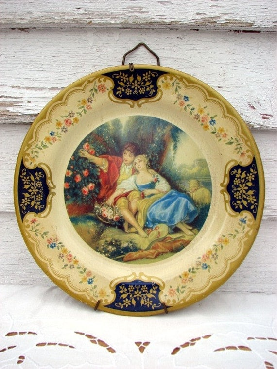 Vintage Tin Decorative Plate- The Idyll- Beret Ware- Made in England