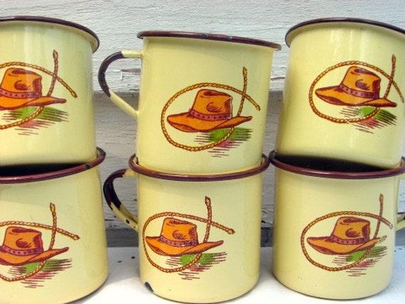 Vintage Monterrey Western Ware Enamelware Cups Set of 6 1950s