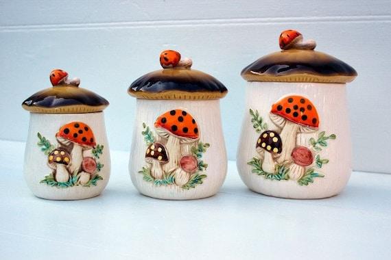 Vintage Mushroom Canister Set 3