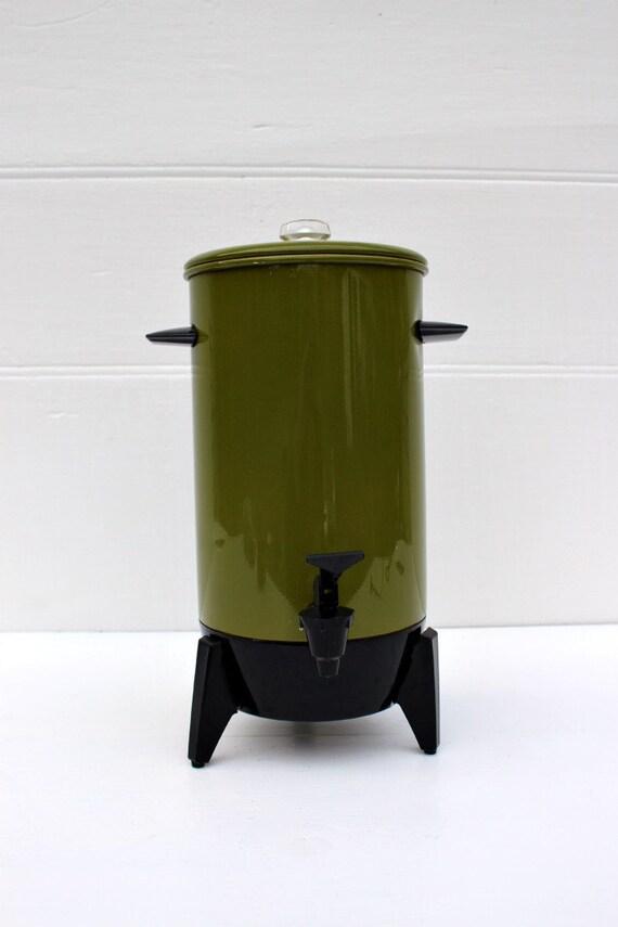 Vintage Coffee Maker Percolator Sears Avocado Green 1970s