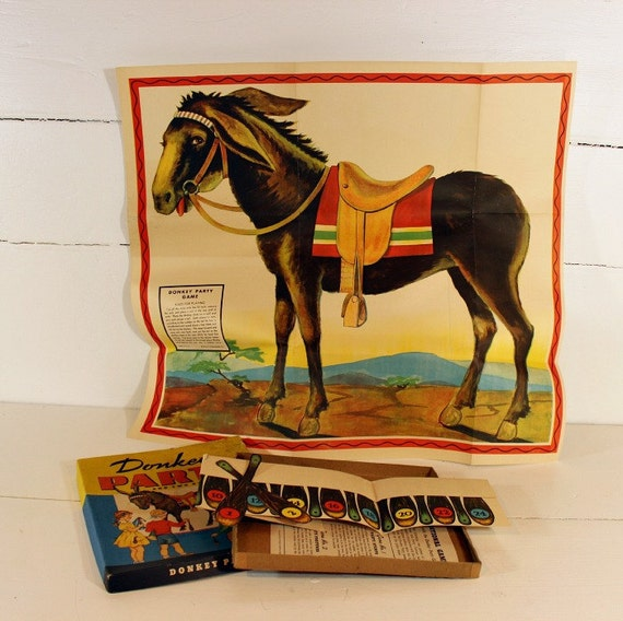 Vintage Donkey Party Game, Pin the Tail on the Donkey, 1941