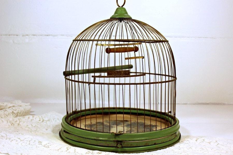 Vintage Antique Birdcage Hendryx Green Stand