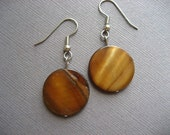 Brown Mother of Pearl Round Earrings