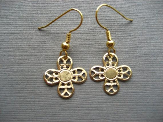 Antiqued Gold Filigree Cross Earrings