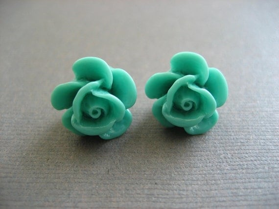 ON SALE Turquoise Green Rose Cabochon Earrings
