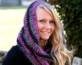 Pink and Black Crochet Cowl