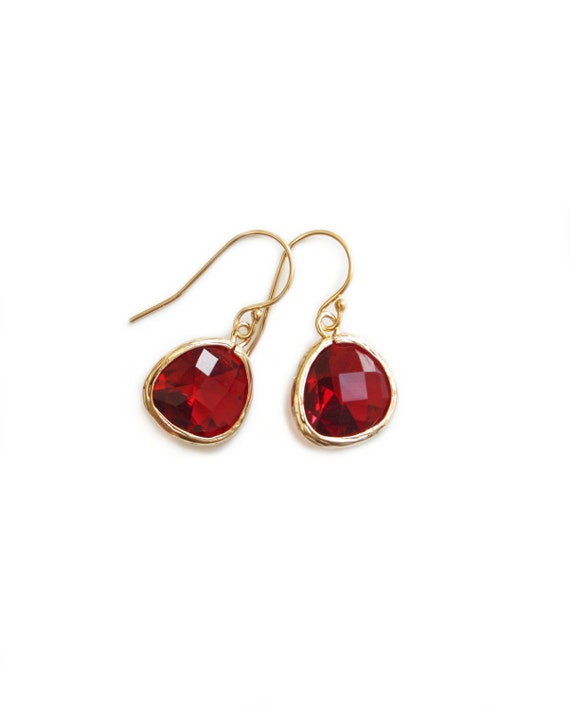 Dangle earrings - cherry crystal dangle earrings with gold wires