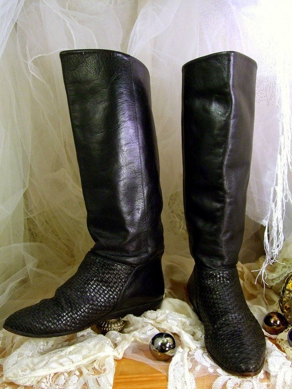 S.A.L.E. 20.00 Off ...Vintage 1980s Black Leather Tall Pirate Pixie Slouch Boots W 6M Unisa Brand