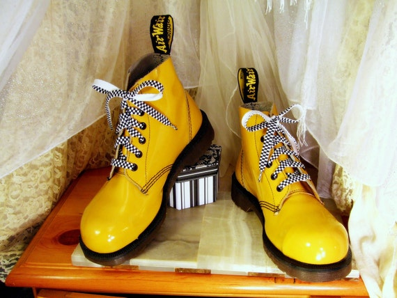 Vintage Yellow Patent 6  Up Doc Martens Original Steel Toe Combat Boot  UK 5  /  USA  Mens 6 or Womens 7 to 7 1/2  Made in England