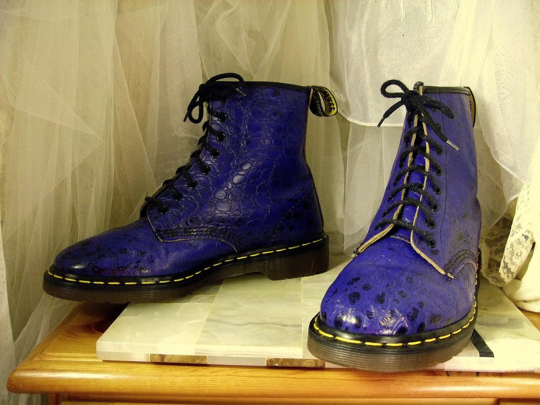 vintage blue crocodile doc martens 8 up combat boots uk 9