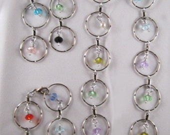 A Rainbow of Sparkly Circles - Necklace, Bracelet & Earrings Set
