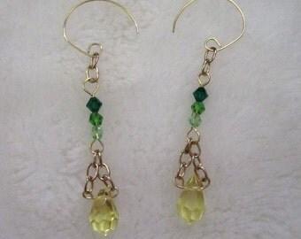 Lemon Lime Crystal Earrings